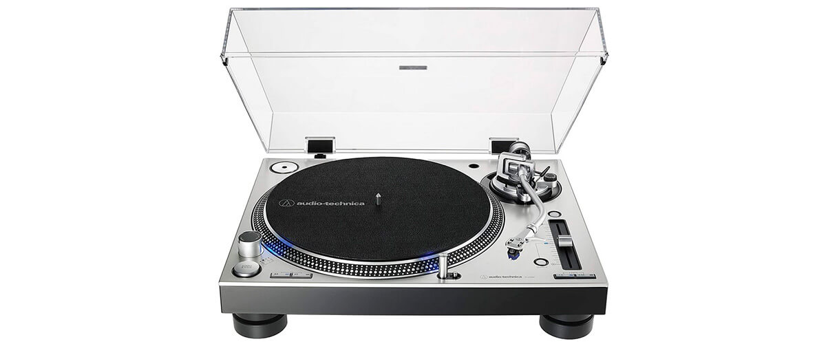 Audio-Technica AT-LP140XP front view with open cap